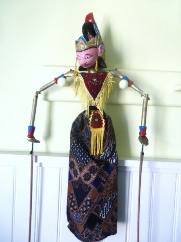 Great Hand Made Painted Wood Indoneisian  Wayang Golek Stick Puppet