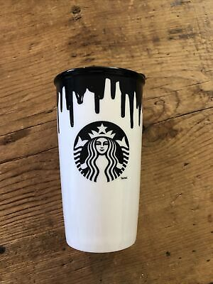 STARBUCKS BAND OF OUTSIDERS Ceramic Double Wall Travel Cup Mug Black White 2014