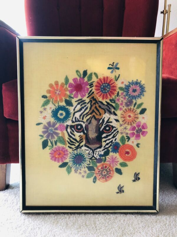 Floral Framed Crewel Tiger Bucilla Creative Needlecraft Embroidery Art Decor MCM