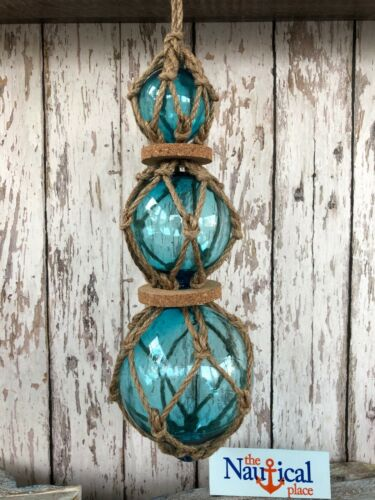 (3) Aqua Glass Fishing Floats On Rope ~ Light Blue ~ Nautical Fish Net Decor