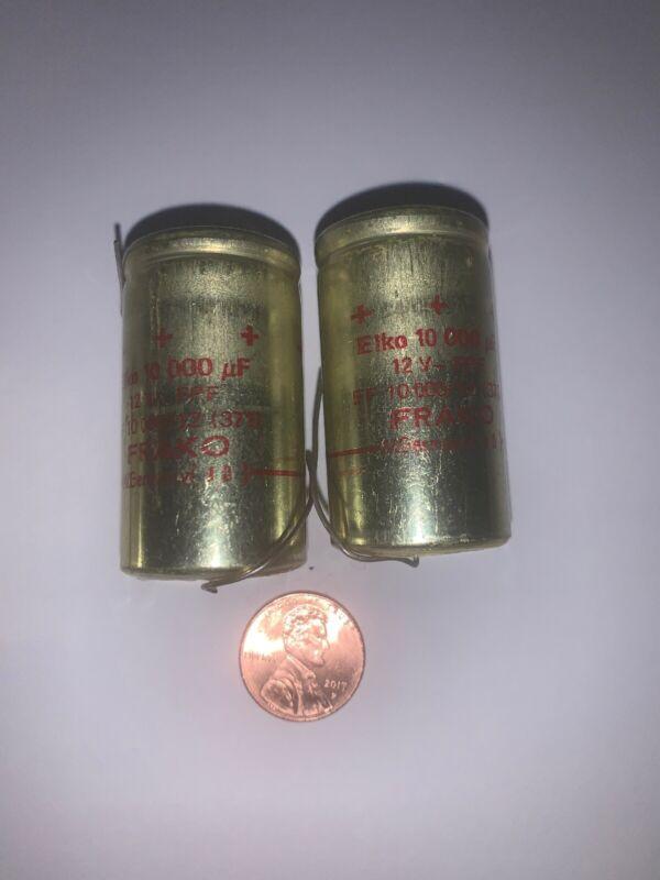 FRAKO 12 Volt 10,000uF Electrolytic Capacitor Axial NOS  Red  2Pcs  (371)