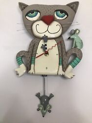 Allen Designs Mouser Cat Pendulum Wall Clock  - P1404 Abstract Art Deco Colorful