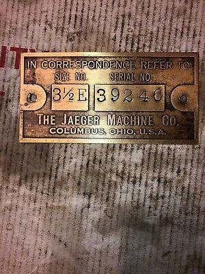 Jaeger 3-12 E Cement Mixer Hit Miss Stationary Engine Tag 39246