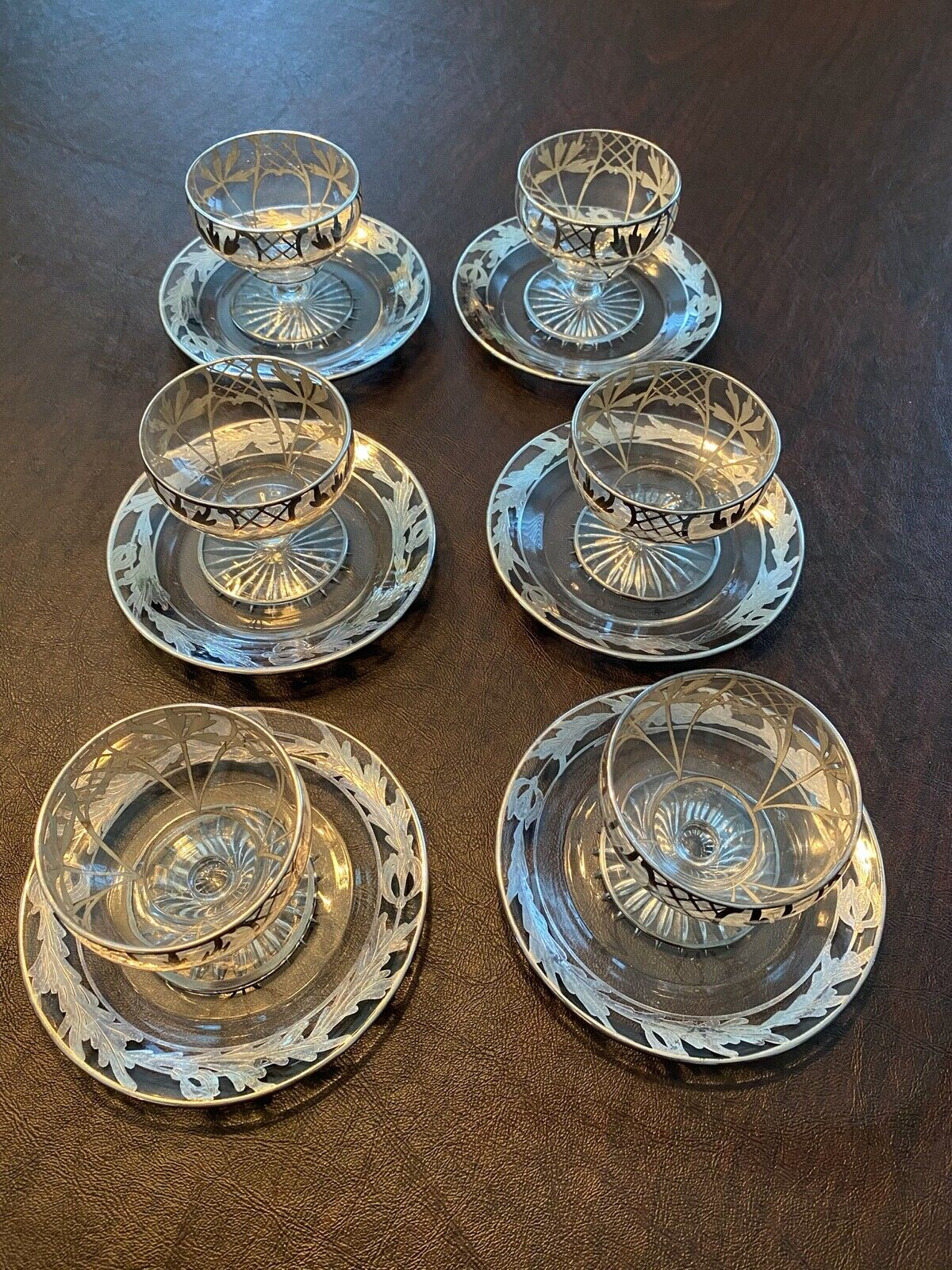 SIX VINTAGE STERLING SILVER OVERLAY ON DESERT CUPS AND PLATES - $49.95