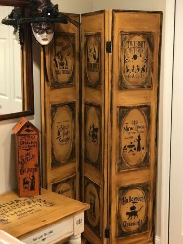 Primitive Vintage Reproduction Halloween Room Divider/ Screen Witch HP OOAK