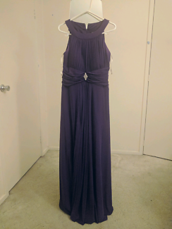 Size 14 Purple empire waist halter neck Formal dress
