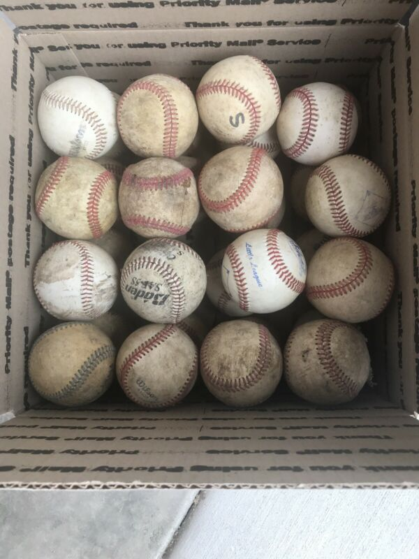 31 USED LEATHER BASEBALLS, POOR CONDITION
