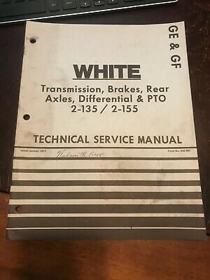 White 2-135 2-155 Tractor Brakes Pto Axle Transmission Technical Service Manual