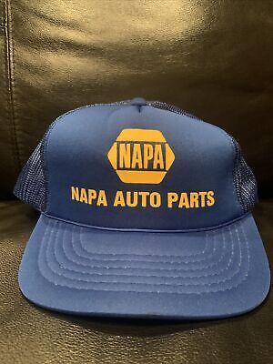 Vtg Napa Auto Parts Store Trucker Mesh Snap Back Hat Cap Blue Advertising