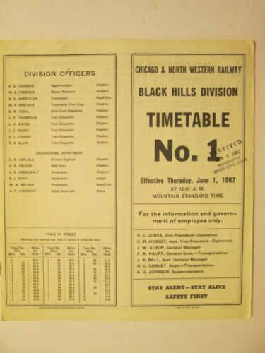 Chicago & North Western Time Table No. 1 Black Hills Division June 1, 1967