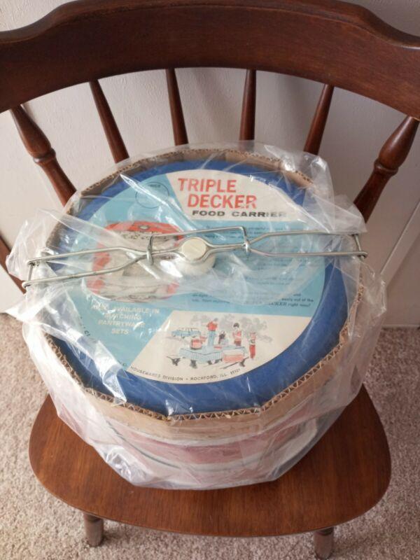 NIB Vintage J L Clark Metal Triple Decker Food Carrier Pie Cake Red White Blue