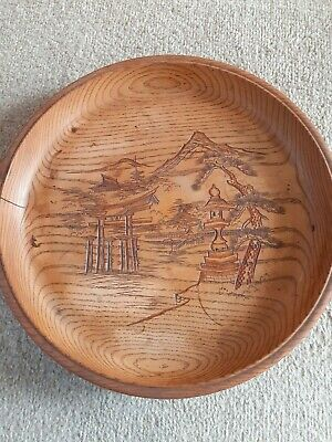 Vintage Japanese Oriental Decorative Hand Carved Wooden Fruit Bowl