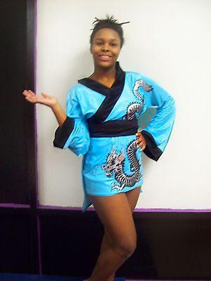 Halloween Express Costume Blue Geisha dragon short dress w/ hair stix Women - Halloween Costumes Express