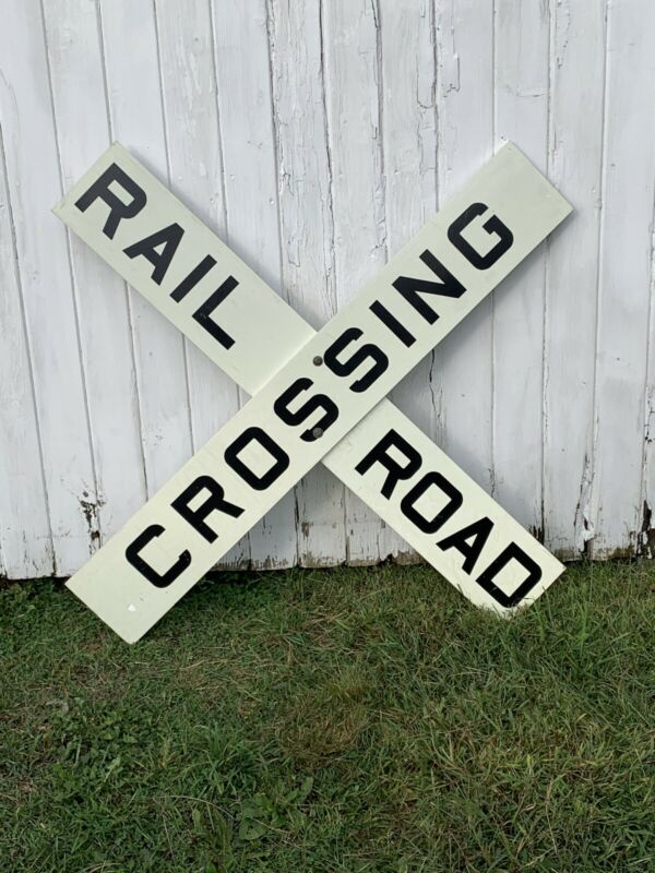 "Large Genuine Railroad Crossing RR ""X"" Sign 60"" x 9"" Reflective Aluminum Vintage"