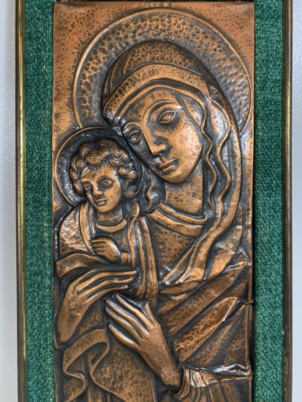 Vintage Arts & Crafts hand Hammered Repousse Copper signed Madonna wall art MCM