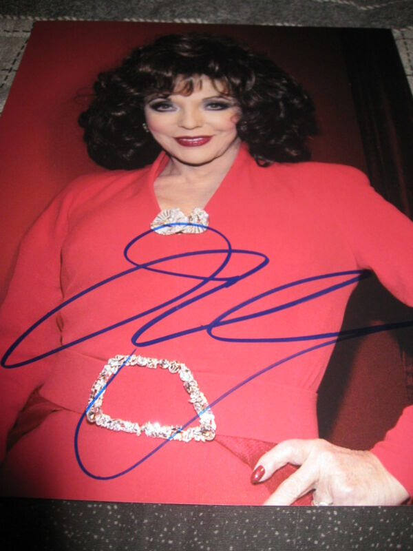 JOAN COLLINS SIGNED AUTOGRAPH 8x10 PHOTO HOLLYWOOD LEGEND PROMO IN PERSON COA G