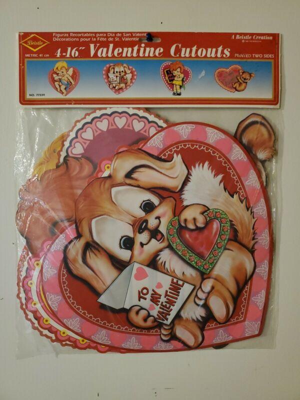 """Vintage 1983 BEISTLE 4-16"""" 2 Sided Cupid 💝 Valentine"""
