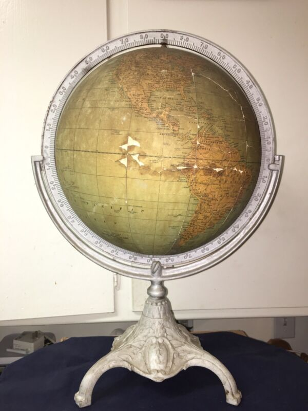 1930 Pre-War Rand McNally Terrestrial Globe On Cast Iron Stand