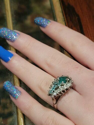 Vintage Palladium Art Deco Natural  Emerald Diamond Ring