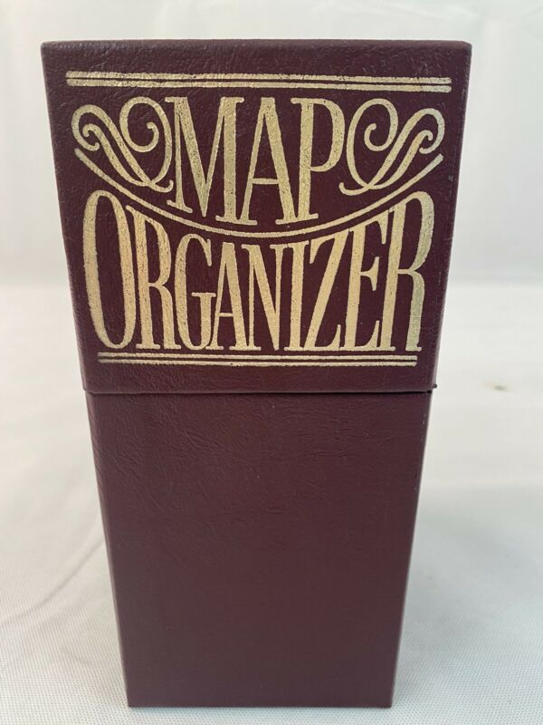 """Burgundy Map Organizer Assorted Paper Maps 10"""" X 6"""" X 4"""" States Cities Fast Ship"""