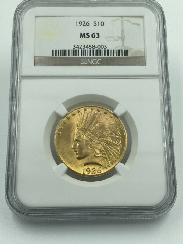 1926 NGC MS63 $10 Gold Indian Stunning Luster