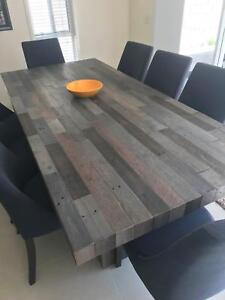 Quality Destressed Timber 8 Seater Dinning Suite