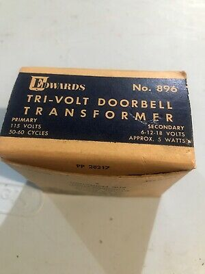 Vintage Nos New Edwards Tri-volt Doorbell Transformer No. 896