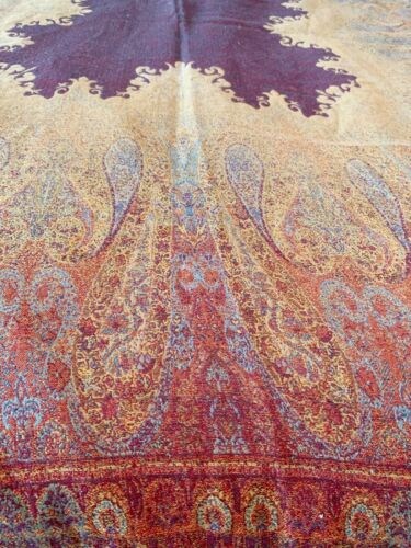 Vintage Wool Paisley Throw Or Piano Shawl