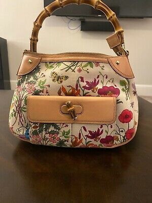 Vintage Gucci Bamboo Floral Canvas Leather Medium Top Handle Tote Hand Bag Auth