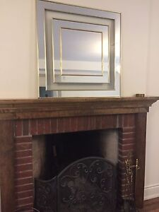 Square mirror with gold trim