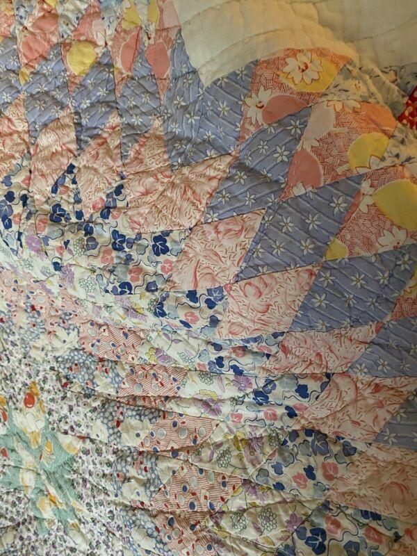 """Antique Star Quilt Pastel Cotton ca 1930's Adorable Colors And Details 75""""x70"""""""