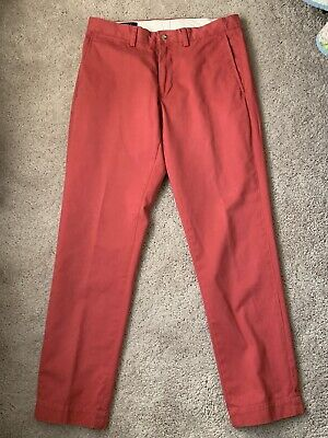 POLO RALPH LAUREN Nantucket RED Cotton Slim Fit PANTS 31 30 Chinos Flat Front
