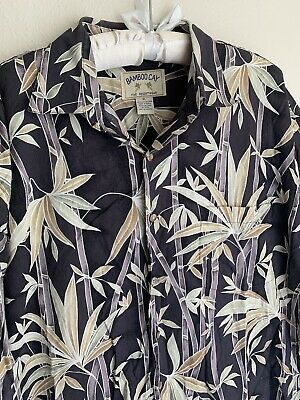 XL Bamboo Cay Cotton Lawn Black Hawaiian Button Shirt Tropical Branch Leaves Tropical Black Bamboo