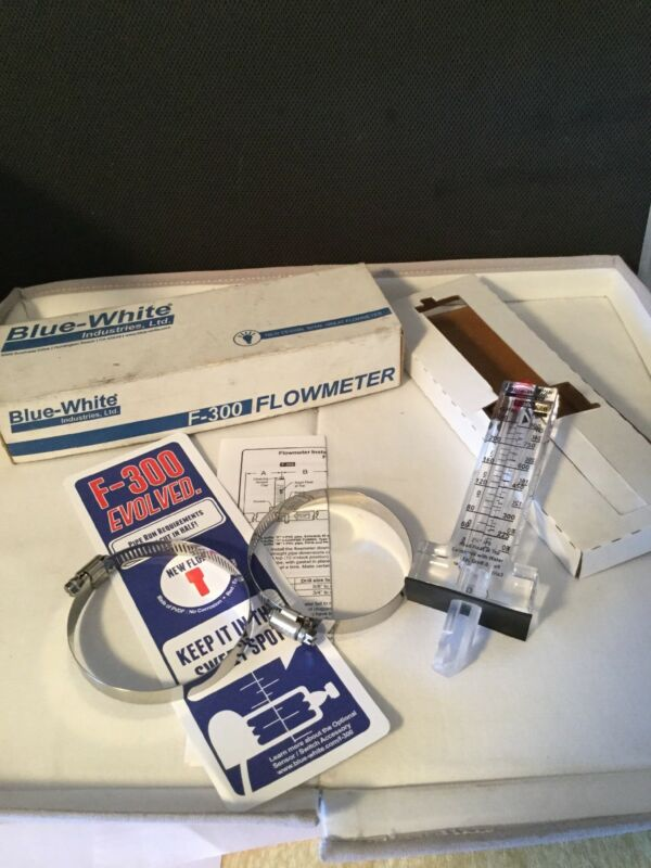 "*NEW IN BOX* Blue-White F-30100P FLOWMETER, 1"", F-300, 5-35 GPM Flow Meter"