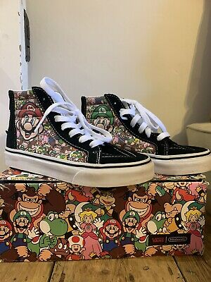 Kids Nintendo Mario And Luigi Vans Sk8-Hi Top Zip Trainers Uk Size 1 Childrens