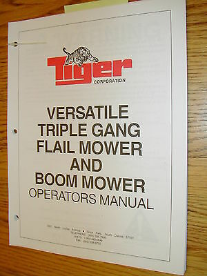 Tiger Versatile Triple Gang Flail Boom Mower Operation Maintenance Manual Guide