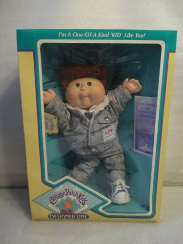 NEW Vintage 1988 Cabbage Patch Kids CPK Designer Line Red Hair Denim Outfit Boy