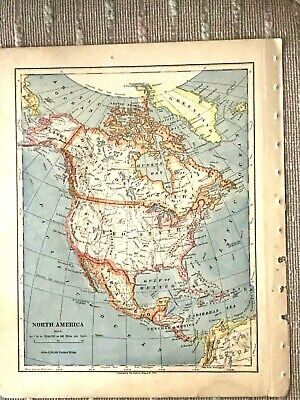 Vintage Color Map of North and Central America Printed