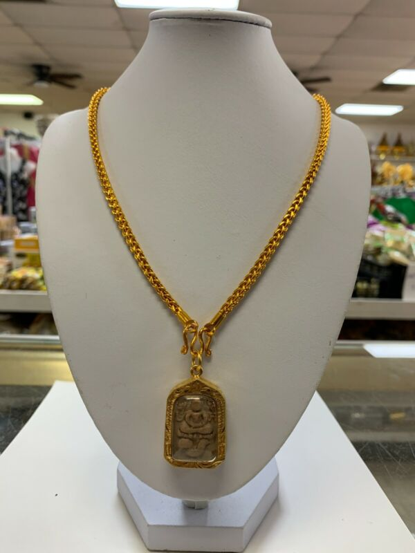 THAI BUDDHA AMULET, PHRA, LUCK, GOLD, BROWN, NECKLACE - BRAND NEW