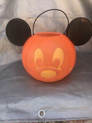 Vintage Disney Mickey Mouse Trick or Treat Pumpkin Halloween Candy Bucket Pail