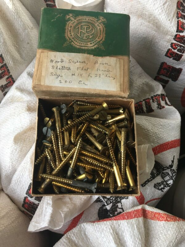 "Vintage Box Of #14 2 1/2"" Flat Head Wood Screws Brass"