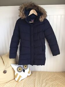 Girls navy winter coat size 10-12