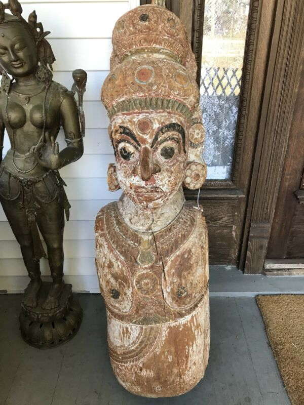 Antique Salvage Architectural Column Indonesian? Buddhist Temple Guard Dvarapala