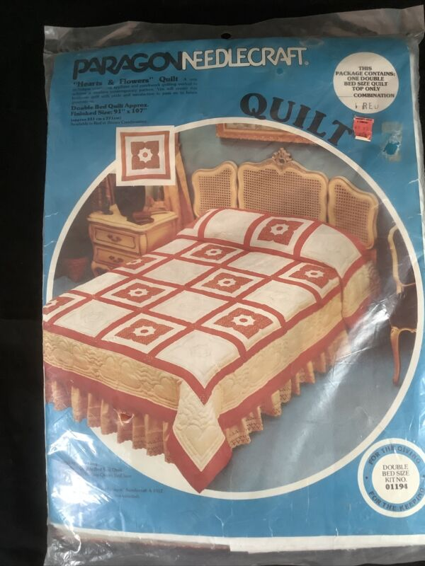 New 1970's Vintage Paragon Needlecraft Red Hearts Flowers Double Full Quilt KIT