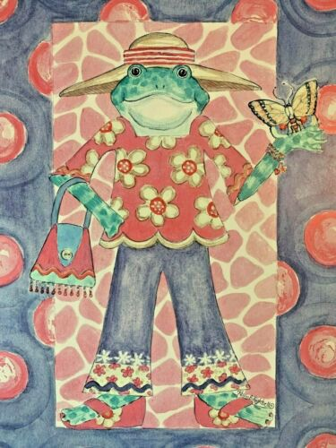 """Adorable Kelly B Rightsell Signed & matted Print~ Girl Frog 12.25 x 16.25"""""""