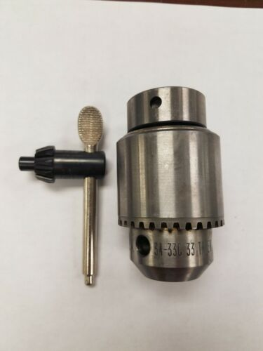 "Jacobs Tapered Mount Drill Chuck JT33 0 to 13mm 0 to 1/2"" 34-33C Surplus New"