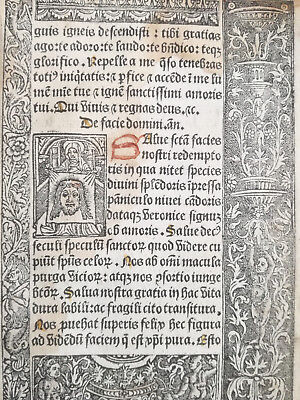 Book of Hours Leaf Vostre Horae Woodcut Veronica Michael Satan Paris 1501