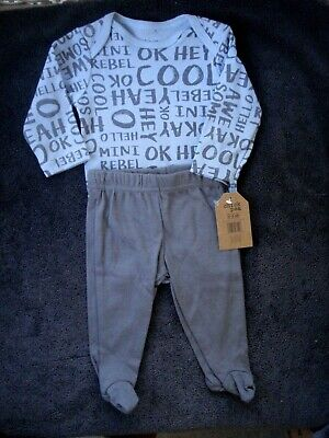 Chick Pea Infant Boy Two Piece Outfit Gray Blue Size 0-3 Months NEW Blue Infant Two Piece