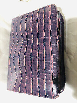 Vintage Franklin Covey Compact Zip Planner Pink Purple Manhattan Croco Leather