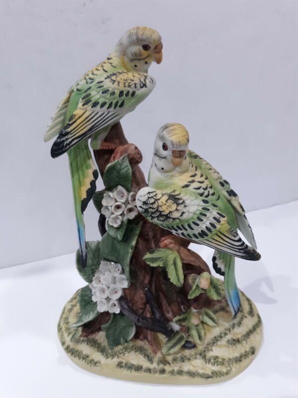 Royal Crown Parakeets bird figurine fine porcelain green yellow vintage